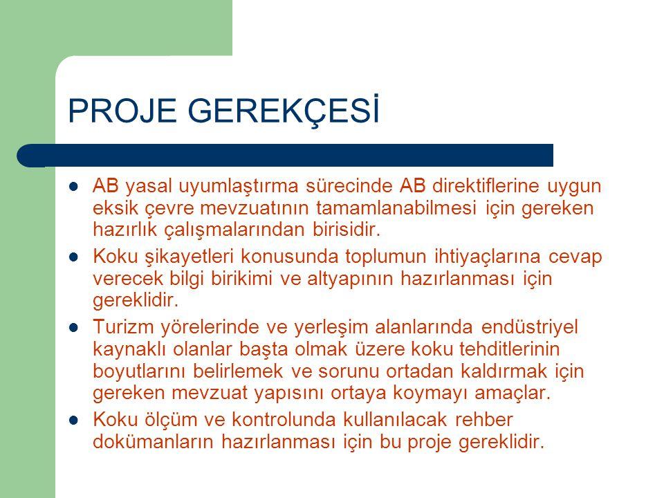PROJENİN AMAÇLARI  Koku örneklemesi, ölçümü, sonuçların değerlendirilmesi ve uygulama alanına aktarılması için proje elemanı yetiştirmek,  Stuttgart Üniversitesi'nin bu konudaki bilgi birikiminden istifade etmek,  Koku sorunlarının yönetimi konusunda gerekli yönetici, teknik eleman ve benzeri idari yapının oluşumuna ışık tutmak,  Türkiye'de geçerli koku eşik değerlerini endüstri sektörleri bazında belirleyerek, konması gereken limit ve alınması gereken önlemlerle beraber rehber dokümanları hazırlamak,  Koku Kontrol Yönetmelik taslağını hazırlamak.