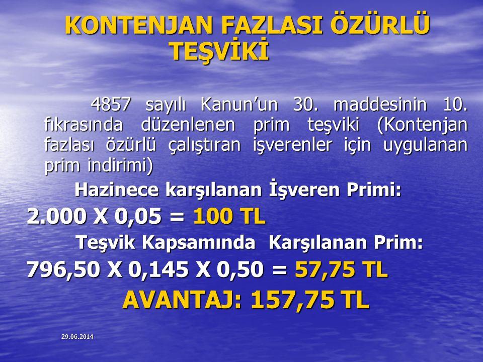 29.06.2014 KONTENJAN FAZLASI ÖZÜRLÜ TEŞVİKİ 4857 sayılı Kanun'un 30. maddesinin 10. fıkrasında düzenlenen prim teşviki (Kontenjan fazlası özürlü çalış