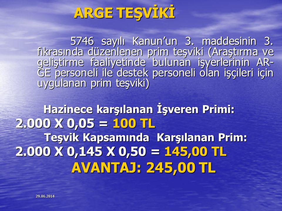 29.06.2014 ARGE TEŞVİKİ 5746 sayılı Kanun'un 3. maddesinin 3. fıkrasında düzenlenen prim teşviki (Araştırma ve geliştirme faaliyetinde bulunan işyerle