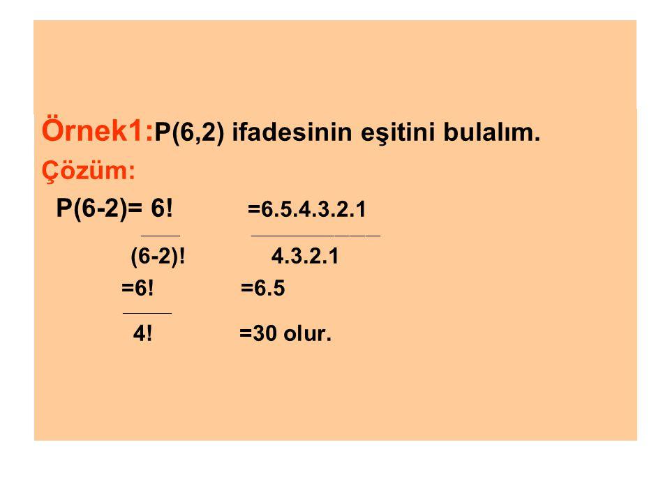 ÖRNEK2: C,A,N harflerinden her biri yalnız bir defa kullanılarak oluşturulabilecek üç harfli anlamlı ya da anlamsız en fazla kaç değişi kelime olduğunu bulalım.