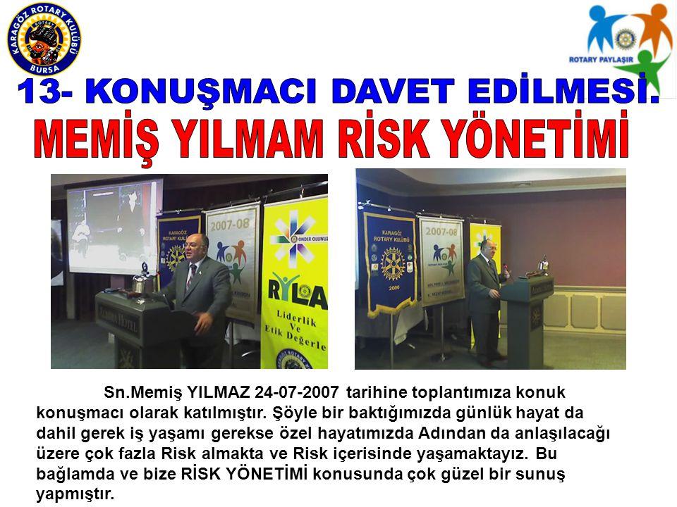 Sn.Memiş YILMAZ 24-07-2007 tarihine toplantımıza konuk konuşmacı olarak katılmıştır.