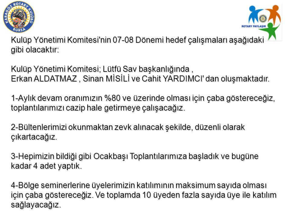 Kulüp Yönetimi Komitesi nin 07-08 Dönemi hedef çalışmaları aşağıdaki gibi olacaktır: Kulüp Yönetimi Komitesi; Lütfü Sav başkanlığında, Erkan ALDATMAZ, Sinan MİSİLİ ve Cahit YARDIMCI dan oluşmaktadır.