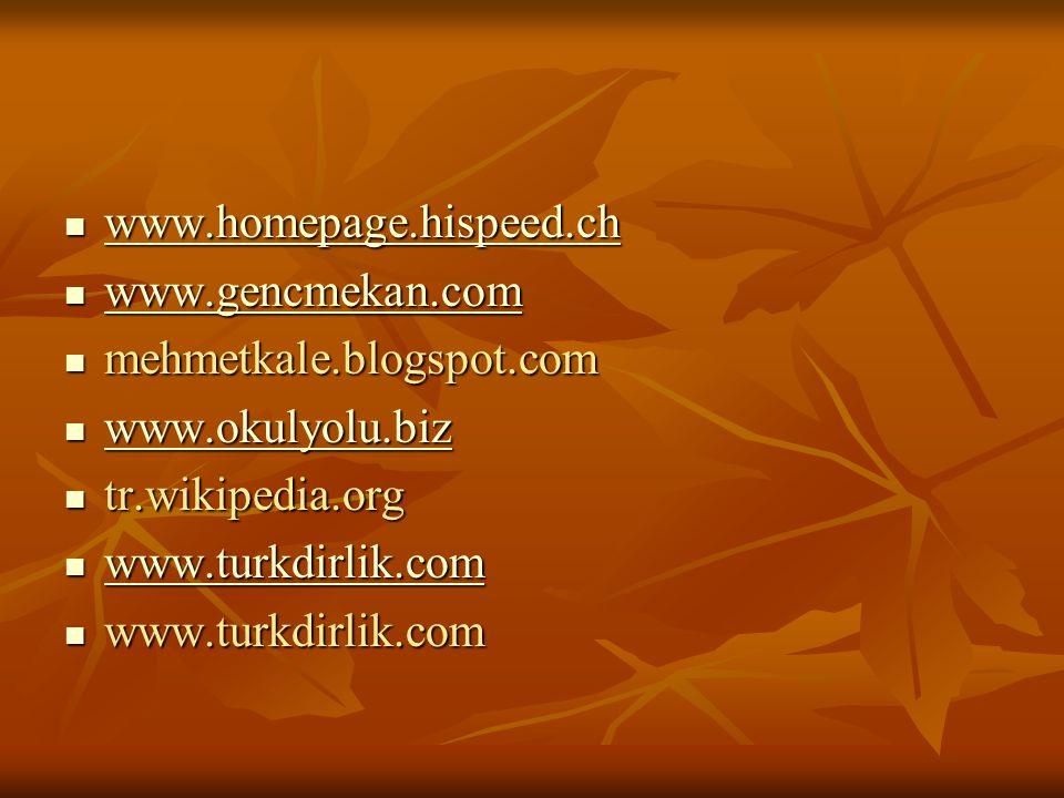  www.homepage.hispeed.ch www.homepage.hispeed.ch  www.gencmekan.com www.gencmekan.com  mehmetkale.blogspot.com  www.okulyolu.biz www.okulyolu.biz