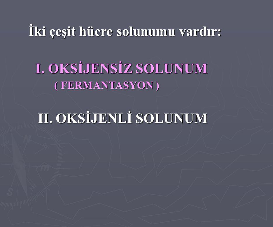 I. OKSİJENSİZ SOLUNUM İki çeşit hücre solunumu vardır: II. OKSİJENLİ SOLUNUM (FERMANTASYON ) ( FERMANTASYON )