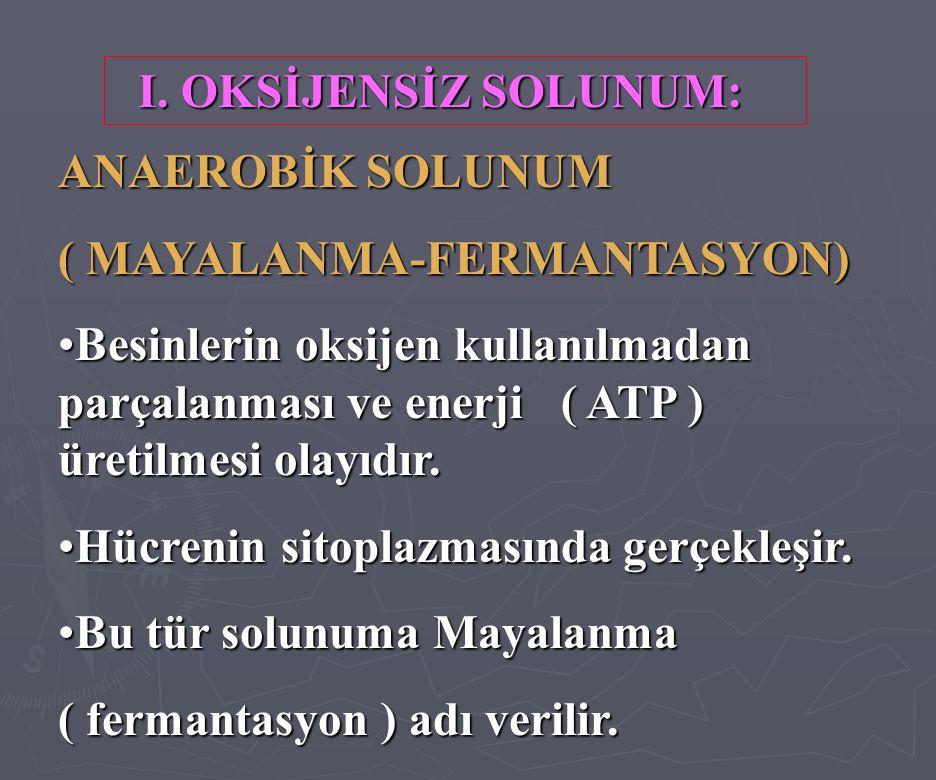 I. OKSİJENSİZ SOLUNUM: ANAEROBİK SOLUNUM ( MAYALANMA-FERMANTASYON) •Besinlerin oksijen kullanılmadan parçalanması ve enerji ( ATP ) üretilmesi olayıdı