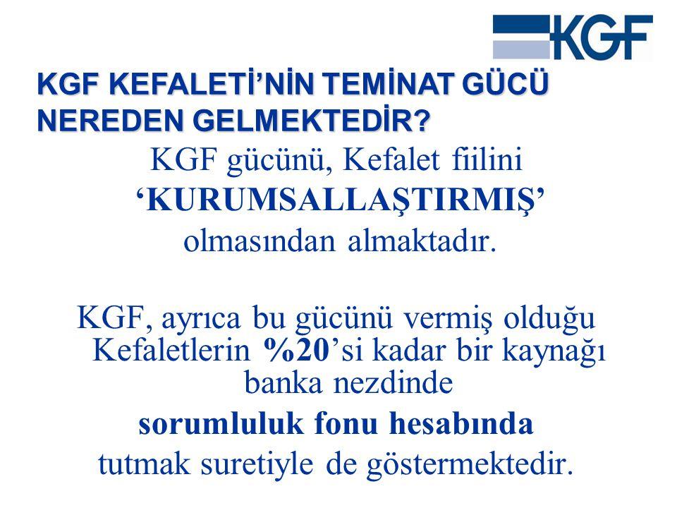 KGF gücünü, Kefalet fiilini 'KURUMSALLAŞTIRMIŞ' olmasından almaktadır. KGF, ayrıca bu gücünü vermiş olduğu Kefaletlerin %20'si kadar bir kaynağı banka