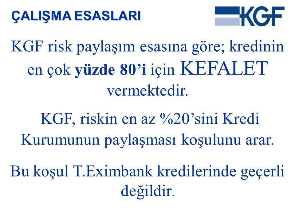 KGF risk paylaşım esasına göre; kredinin en çok yüzde 80'i için KEFALET vermektedir. KGF, riskin en az %20'sini Kredi Kurumunun paylaşması koşulunu ar