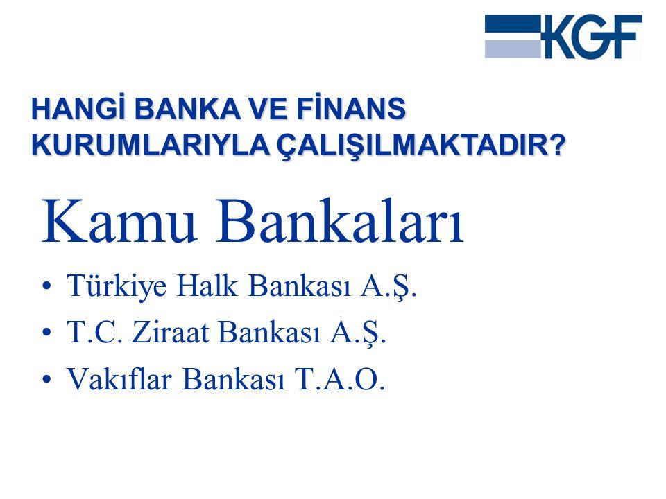 Kamu Bankaları •Türkiye Halk Bankası A.Ş. •T.C. Ziraat Bankası A.Ş. •Vakıflar Bankası T.A.O. HANGİ BANKA VE FİNANS KURUMLARIYLA ÇALIŞILMAKTADIR?