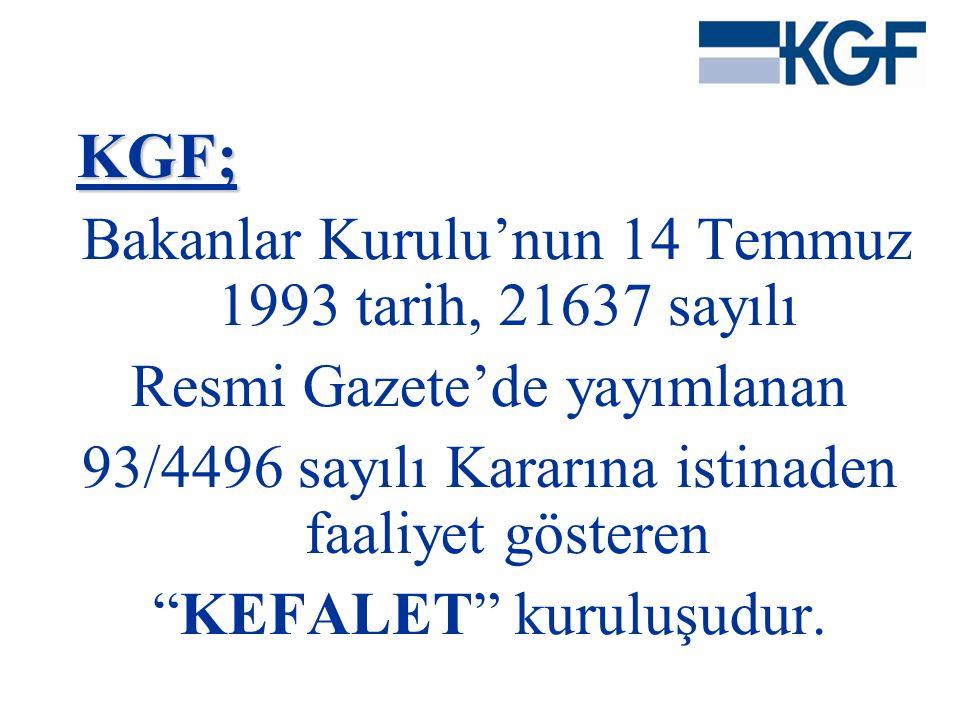 """KGF; KGF; Bakanlar Kurulu'nun 14 Temmuz 1993 tarih, 21637 sayılı Resmi Gazete'de yayımlanan 93/4496 sayılı Kararına istinaden faaliyet gösteren """"KEFAL"""