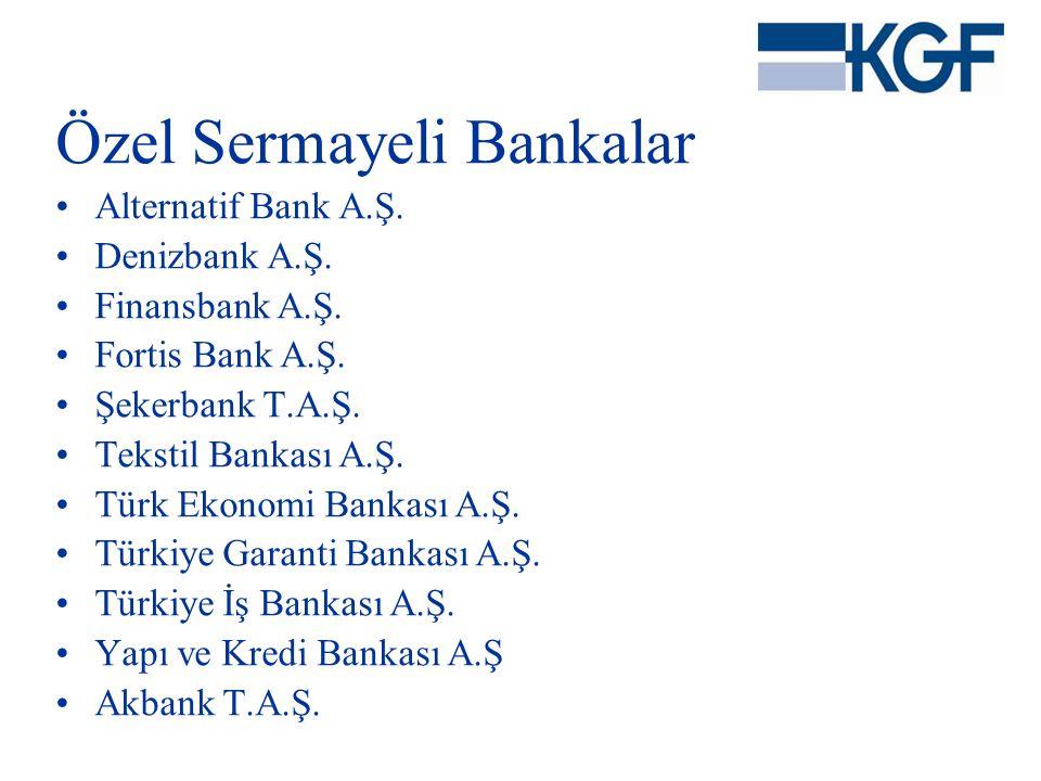 Özel Sermayeli Bankalar •Alternatif Bank A.Ş. •Denizbank A.Ş. •Finansbank A.Ş. •Fortis Bank A.Ş. •Şekerbank T.A.Ş. •Tekstil Bankası A.Ş. •Türk Ekonomi