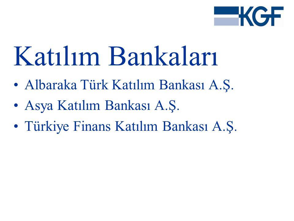 Katılım Bankaları •Albaraka Türk Katılım Bankası A.Ş. •Asya Katılım Bankası A.Ş. •Türkiye Finans Katılım Bankası A.Ş.