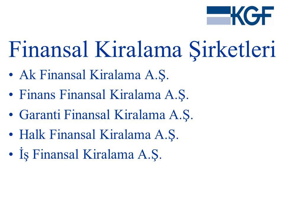 Finansal Kiralama Şirketleri •Ak Finansal Kiralama A.Ş. •Finans Finansal Kiralama A.Ş. •Garanti Finansal Kiralama A.Ş. •Halk Finansal Kiralama A.Ş. •İ