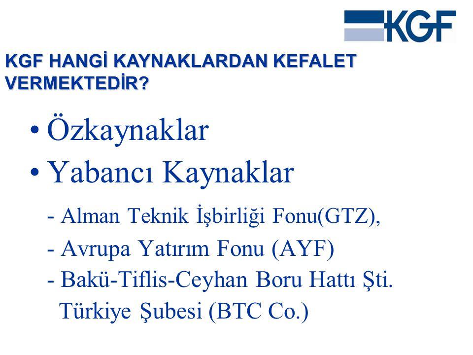 •Özkaynaklar •Yabancı Kaynaklar - Alman Teknik İşbirliği Fonu(GTZ), - Avrupa Yatırım Fonu (AYF) - Bakü-Tiflis-Ceyhan Boru Hattı Şti. Türkiye Şubesi (B