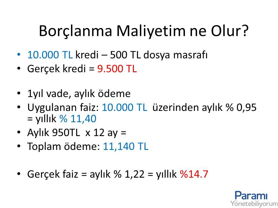 Borçlanma Maliyetim ne Olur? • 10.000 TL kredi – 500 TL dosya masrafı • Gerçek kredi = 9.500 TL • 1yıl vade, aylık ödeme • Uygulanan faiz: 10.000 TL ü