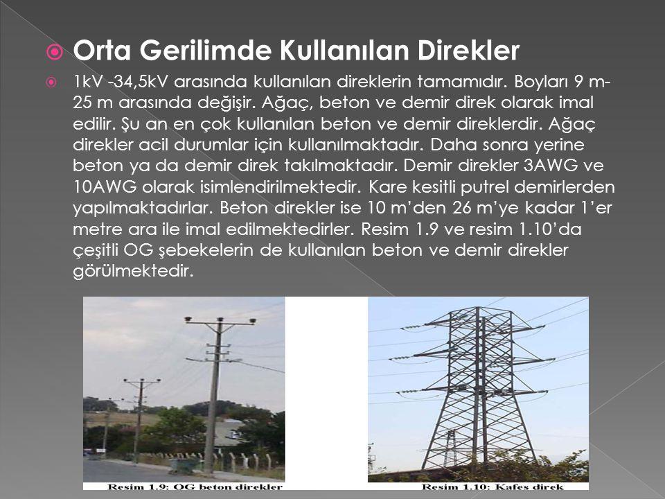  Orta Gerilimde Kullanılan Direkler  1kV -34,5kV arasında kullanılan direklerin tamamıdır. Boyları 9 m- 25 m arasında değişir. Ağaç, beton ve demir