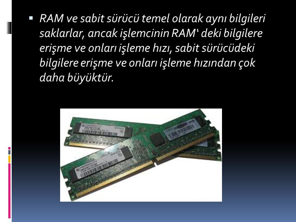  RAM, genellikle bilgisayardaki ana hafıza ya da birincil depo; yükleme, gösterme, uygulamaları yönlendirme ve veri için çalışma alanı olarak düşünülür.