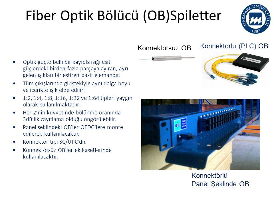 Fiber Optik Bölücü (OB)Spiletter Konnektörsüz OB Konnektörlü (PLC) OB •Optik güçte belli bir kayıpla ışığı eşit güçlerdeki birden fazla parçaya ayıran, ayrı gelen ışıkları birleştiren pasif elemandır.