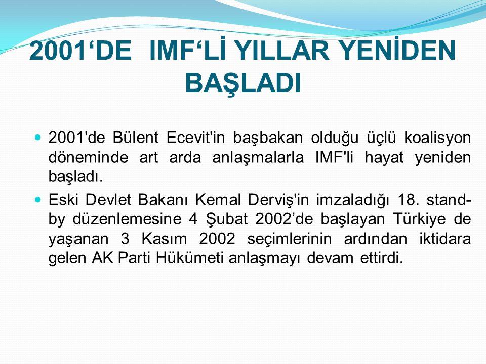 2001'DE IMF'Lİ YILLAR YENİDEN BAŞLADI  2001'de Bülent Ecevit'in başbakan olduğu üçlü koalisyon döneminde art arda anlaşmalarla IMF'li hayat yeniden b