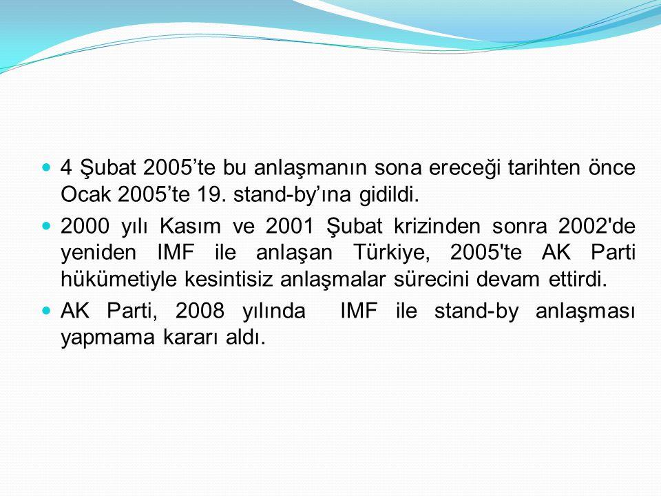  4 Şubat 2005'te bu anlaşmanın sona ereceği tarihten önce Ocak 2005'te 19. stand-by'ına gidildi.  2000 yılı Kasım ve 2001 Şubat krizinden sonra 2002