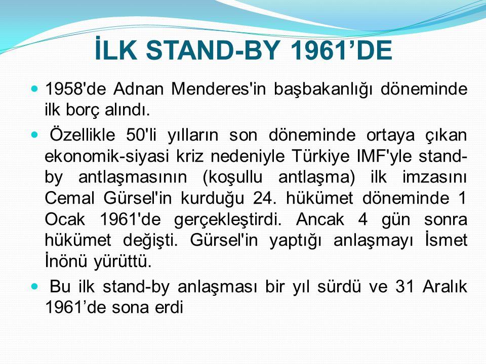 İLK STAND-BY 1961'DE  1958'de Adnan Menderes'in başbakanlığı döneminde ilk borç alındı.  Özellikle 50'li yılların son döneminde ortaya çıkan ekonomi
