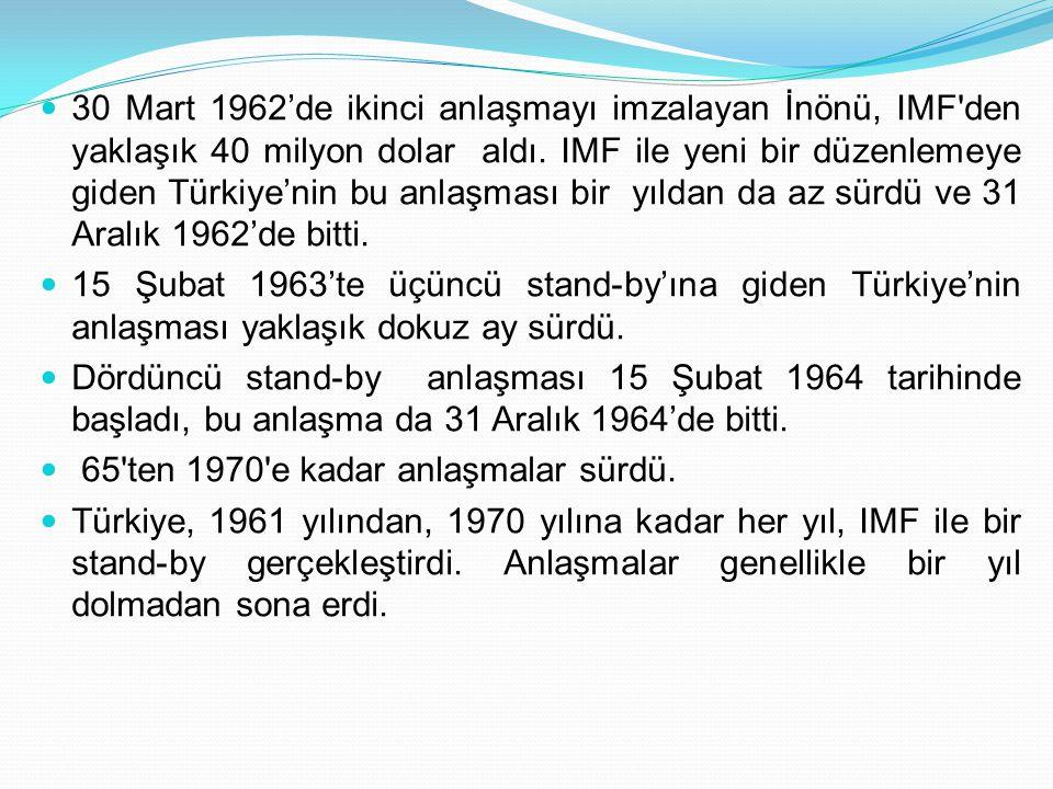  30 Mart 1962'de ikinci anlaşmayı imzalayan İnönü, IMF'den yaklaşık 40 milyon dolar aldı. IMF ile yeni bir düzenlemeye giden Türkiye'nin bu anlaşması