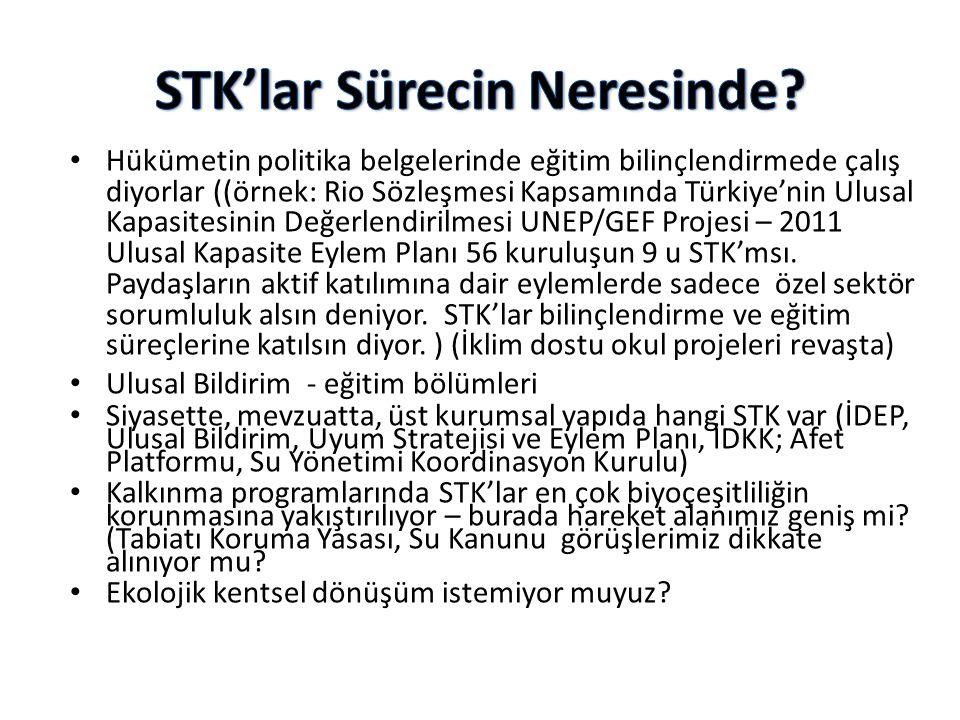 • Hükümetin politika belgelerinde eğitim bilinçlendirmede çalış diyorlar ((örnek: Rio Sözleşmesi Kapsamında Türkiye'nin Ulusal Kapasitesinin Değerlend