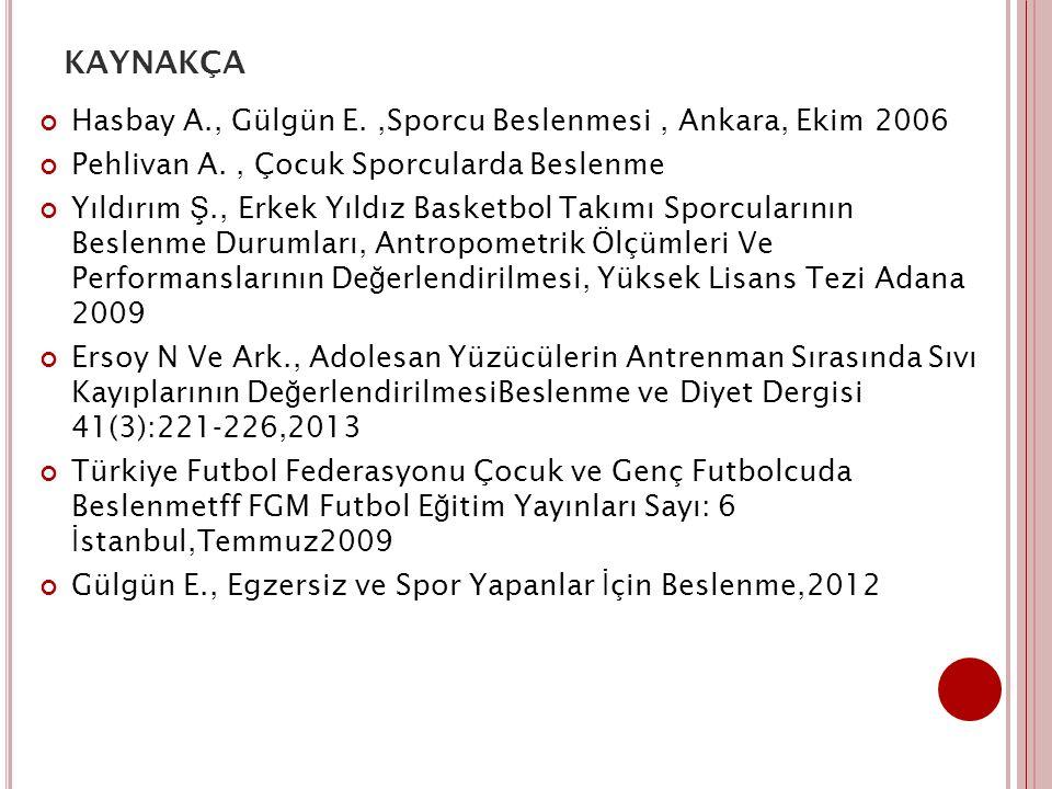 KAYNAKÇA Hasbay A., Gülgün E.,Sporcu Beslenmesi, Ankara, Ekim 2006 Pehlivan A., Çocuk Sporcularda Beslenme Yıldırım Ş., Erkek Yıldız Basketbol Takımı