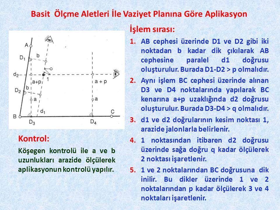 Basit Ölçme Aletleri İle Vaziyet Planına Göre Aplikasyon İşlem sırası: 1.AB cephesi üzerinde D1 ve D2 gibi iki noktadan b kadar dik çıkılarak AB cephesine paralel d1 doğrusu oluşturulur.