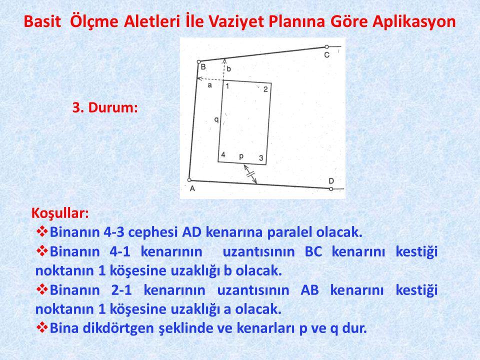 Basit Ölçme Aletleri İle Vaziyet Planına Göre Aplikasyon Koşullar:  Binanın 4-3 cephesi AD kenarına paralel olacak.