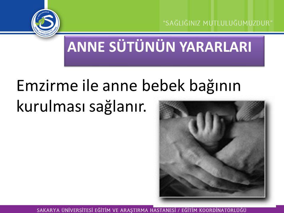 ANNE SÜTÜNÜN YARARLARI Emzirme ile anne bebek bağının kurulması sağlanır.