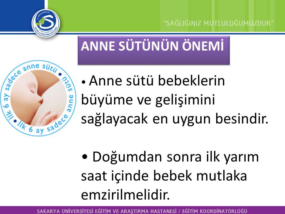 • Anne sütü bebeklerin büyüme ve gelişimini sağlayacak en uygun besindir. • Doğumdan sonra ilk yarım saat içinde bebek mutlaka emzirilmelidir. ANNE SÜ