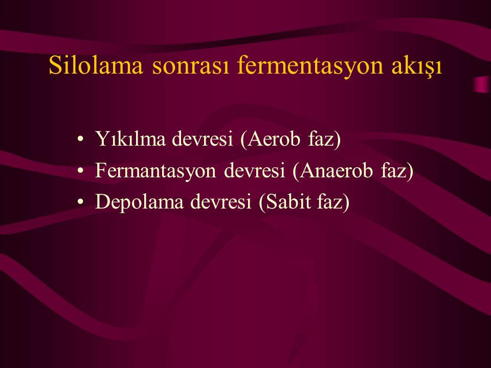 Silolama sonrası fermentasyon akışı •Yıkılma devresi (Aerob faz) •Fermantasyon devresi (Anaerob faz) •Depolama devresi (Sabit faz)