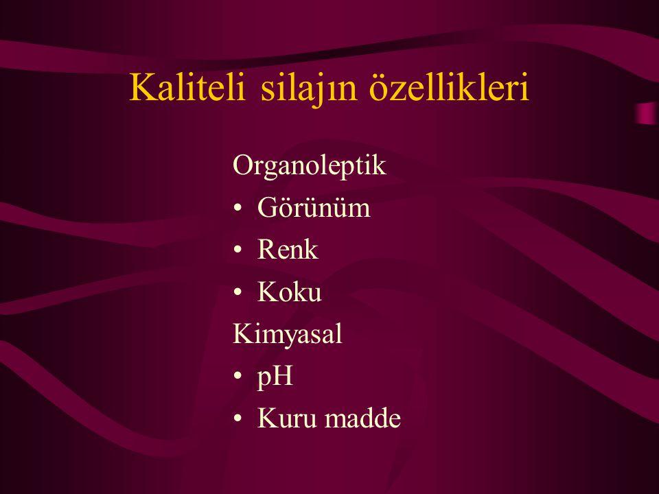 Kaliteli silajın özellikleri Organoleptik •Görünüm •Renk •Koku Kimyasal •pH •Kuru madde