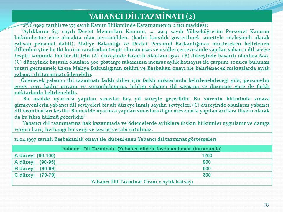 """YABANCI DİL TAZMİNATI (2) 27/6/1989 tarihli ve 375 sayılı Kanun Hükmünde Kararnamenin 2 nci maddesi: """"Aylıklarını 657 sayılı Devlet Memurları Kanunu,"""