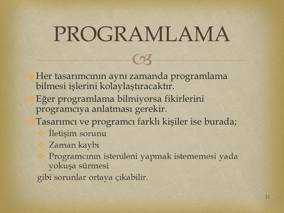   Her tasarımcının aynı zamanda programlama bilmesi işlerini kolaylaştıracaktır.  Eğer programlama bilmiyorsa fikirlerini programcıya anlatması ger