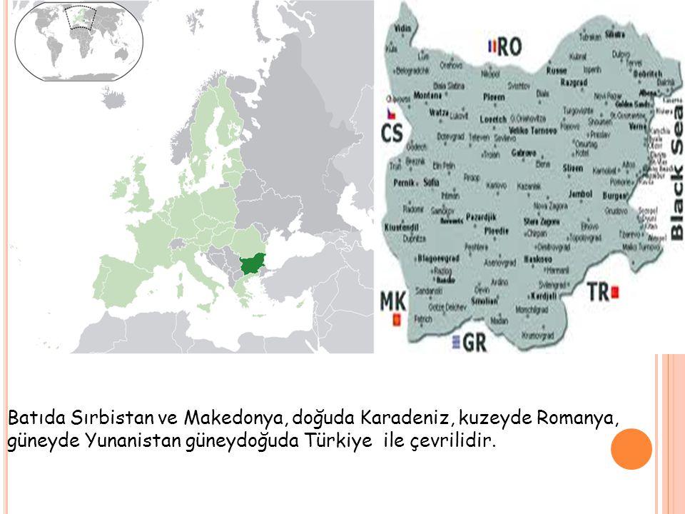 Başkent: Sofia Resmi Dil: Bulgarca, Bölgesel Diller: Romanca, Türkçe Etnik Gruplar: Bulgarlar % 83,9 Türkler %8,8 Romanlar % 4,7 diğer % 2 Yönetim Biçimi: Parlamenter Demokrasi Cumhurbaşkanı: Rosen Plevneliev Başbakan: Marin Raykov Yüzölçümü: 110.993 km² Nüfus: 7 364 570 (2011) GSYİH: Toplam: 92.894 Milyar $ (2008) Kişi Başına: 12.251 $ Para Birimi: Lev