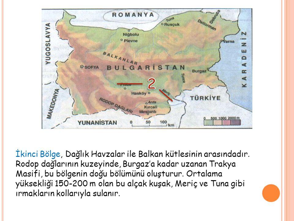 Üçüncü doğal bölge, kuzeybatı-güneydoğu doğrultusunda, Yugoslavya sınırından Karadeniz'e kadar yaklaşık 300 km boyunca uzanarak 25.000 km²'lik bir alan kaplayarak ülkeyi ikiye bölen Balkan Dağları (Stara Planina) bölgesidir.