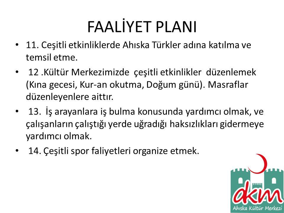 FAALİYET PLANI • 11.Ceşitli etkinliklerde Ahıska Türkler adına katılma ve temsil etme.