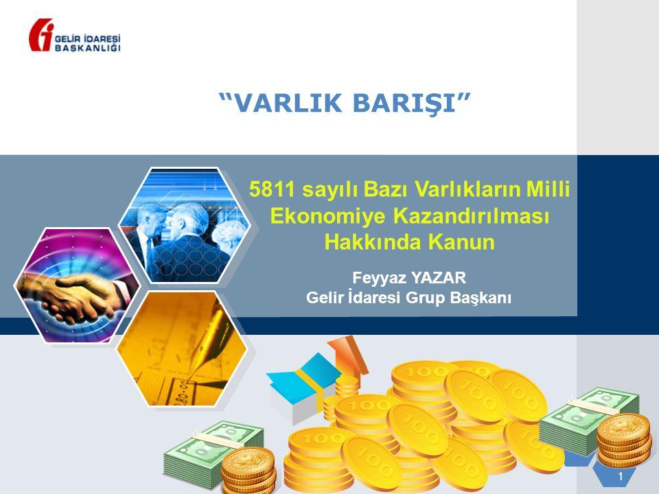 1 VARLIK BARIŞI 5811 sayılı Bazı Varlıkların Milli Ekonomiye Kazandırılması Hakkında Kanun Feyyaz YAZAR Gelir İdaresi Grup Başkanı
