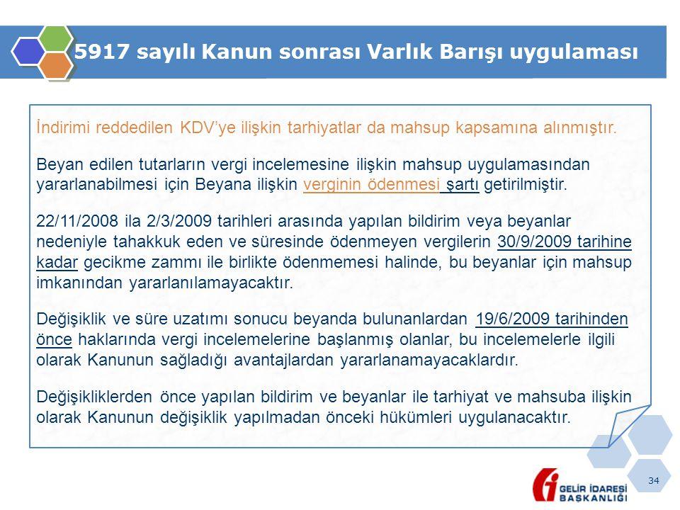 34 5917 sayılı Kanun sonrası Varlık Barışı uygulaması İndirimi reddedilen KDV'ye ilişkin tarhiyatlar da mahsup kapsamına alınmıştır. Beyan edilen tuta