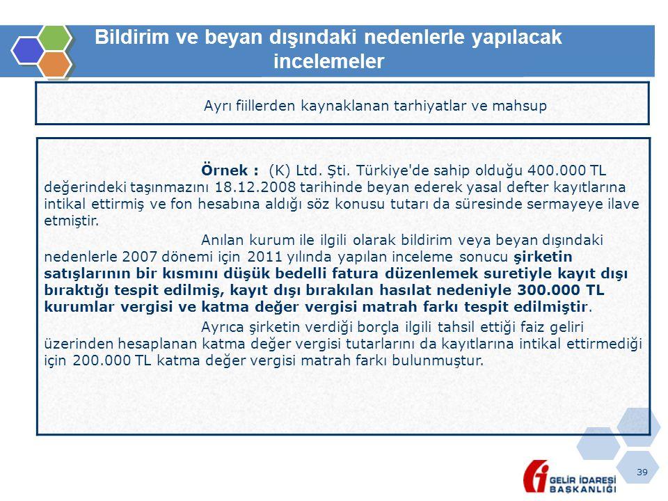 39 Bildirim ve beyan dışındaki nedenlerle yapılacak incelemeler Ayrı fiillerden kaynaklanan tarhiyatlar ve mahsup Örnek : (K) Ltd. Şti. Türkiye'de sah
