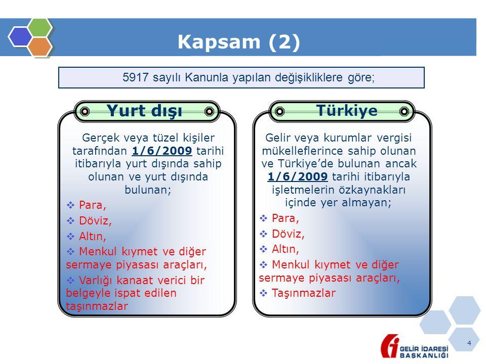 4 Kapsam (2) Gerçek veya tüzel kişiler tarafından 1/6/2009 tarihi itibarıyla yurt dışında sahip olunan ve yurt dışında bulunan;  Para,  Döviz,  Alt