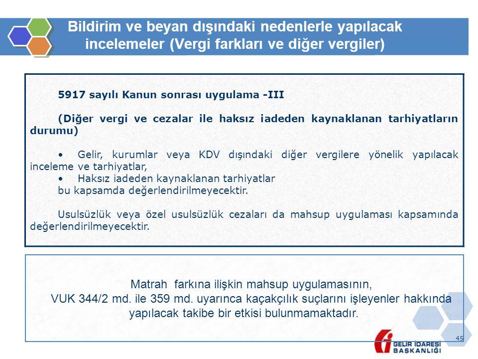 45 Bildirim ve beyan dışındaki nedenlerle yapılacak incelemeler (Vergi farkları ve diğer vergiler) 5917 sayılı Kanun sonrası uygulama -III (Diğer verg