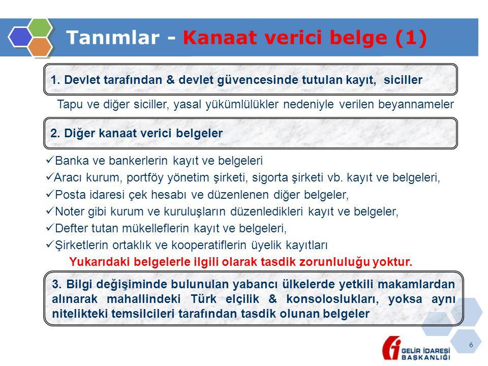 6 Tanımlar - Kanaat verici belge (1) 1. Devlet tarafından & devlet güvencesinde tutulan kayıt, siciller Tapu ve diğer siciller, yasal yükümlülükler ne