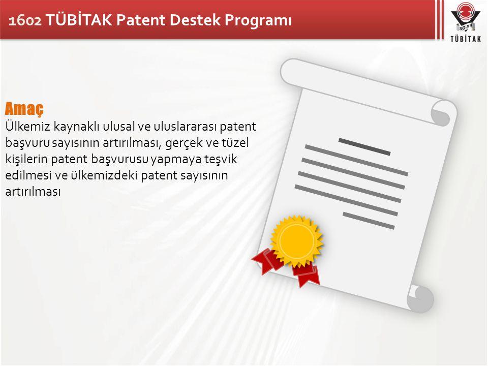 1602 TÜBİTAK Patent Destek Programı Amaç Ülkemiz kaynaklı ulusal ve uluslararası patent başvuru sayısının artırılması, gerçek ve tüzel kişilerin paten