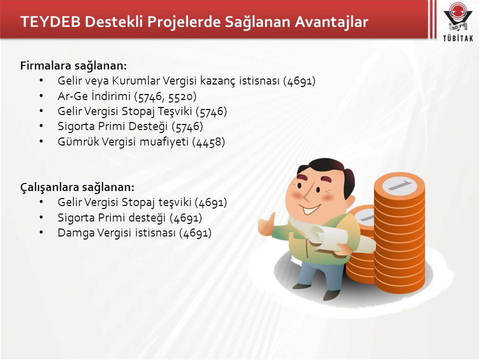 TEYDEB Destekli Projelerde Sağlanan Avantajlar Firmalara sağlanan: • Gelir veya Kurumlar Vergisi kazanç istisnası (4691) • Ar-Ge İndirimi (5746, 5520)