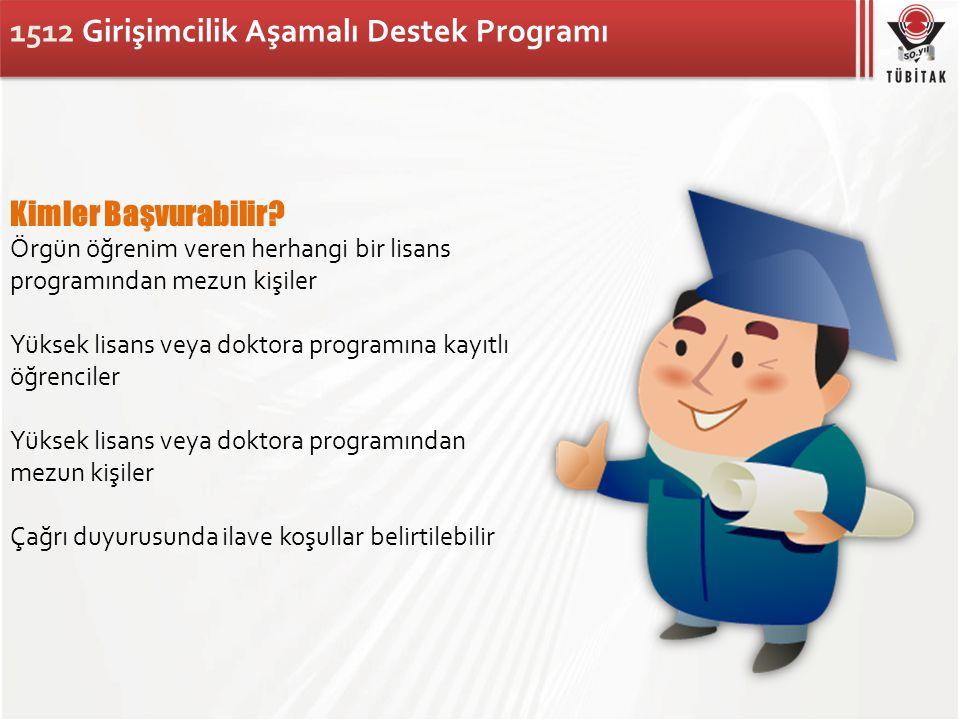 1512 Girişimcilik Aşamalı Destek Programı Kimler Başvurabilir? Örgün öğrenim veren herhangi bir lisans programından mezun kişiler Yüksek lisans veya d
