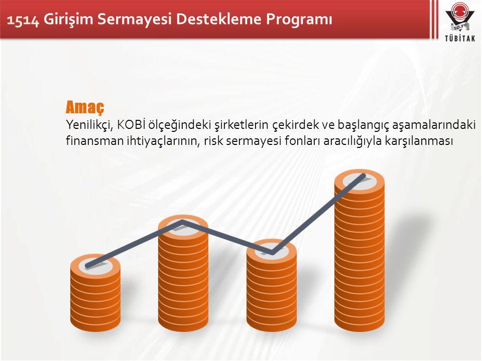 1514 Girişim Sermayesi Destekleme Programı Amaç Yenilikçi, KOBİ ölçeğindeki şirketlerin çekirdek ve başlangıç aşamalarındaki finansman ihtiyaçlarının,