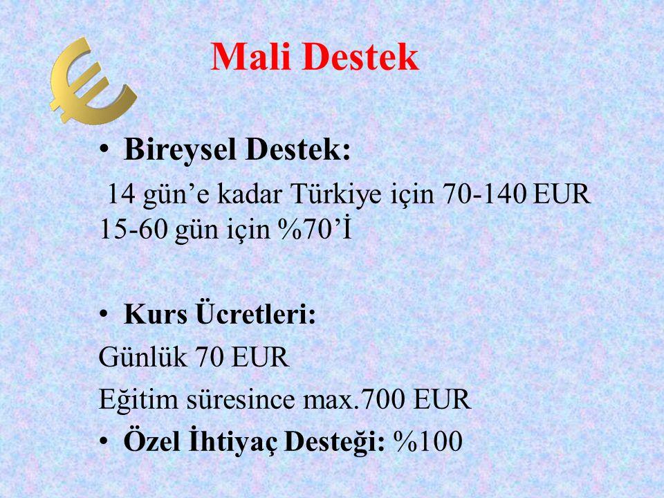 • Bireysel Destek: 14 gün'e kadar Türkiye için 70-140 EUR 15-60 gün için %70'İ • Kurs Ücretleri: Günlük 70 EUR Eğitim süresince max.700 EUR • Özel İht