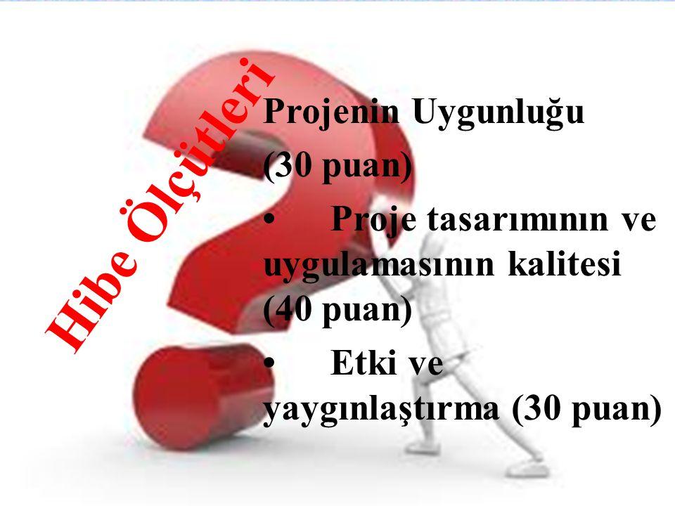 Hibe Ölçütleri Projenin Uygunluğu (30 puan) •Proje tasarımının ve uygulamasının kalitesi (40 puan) •Etki ve yaygınlaştırma (30 puan)